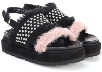 Alexander McQueen Suede and shearling sandals