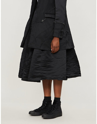 Selfridges Black Comme Des Garcon Drawstring-waistband crinkled-texture satin midi skirt