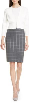 BOSS Vensina Windowpane Check Pencil Skirt