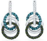 Zales 1/3 CT. T.W. Enhanced Green, Blue and White Diamond Circles Drop Earrings in 10K White Gold