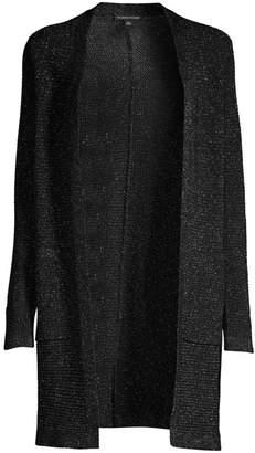 Eileen Fisher Metallic Merino Wool-Blend Longline Cardigan