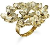 MC M&c Women's - FR12 - Retro Clover Leaf Crystal Jeweled -Tone Cocktail Ring