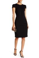 Betsey Johnson Faux Leather Trim Sheath Dress