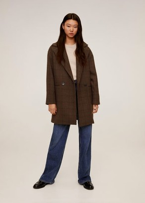 MANGO Checked structured coat brown - S - Women