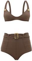 Lisa Marie Fernandez Magdalena High-waist Belted Seersucker Bikini - Womens - Brown
