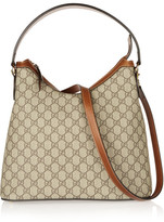 Gucci Linea A Hobo Leather-trimmed Coated-canvas Shoulder Bag - Tan