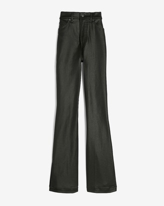 Express High Waisted Black Coated Slim Flare Jeans