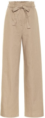 Agnona Wide-leg linen-blend paperbag pants