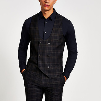 River Island Navy check double breasted suit waistcoat
