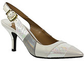 J. Renee Laceyann Snake Print Patent Leather Shimmer Pointed Toe Slingback Pumps