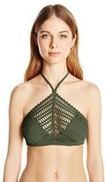 Robin Piccone Women's Sophia Crochet High-Neck Halter Bikini Top