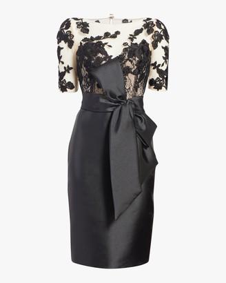 Badgley Mischka Lace Sleeve Bow Dress