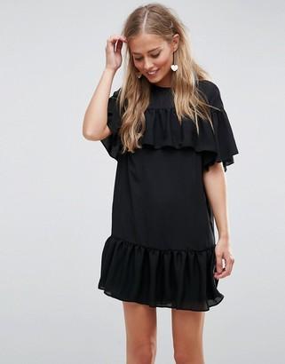 Asos Sheer Shift mini dress with Pep Hem