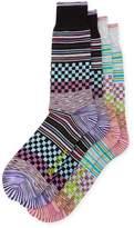 Robert Graham Two-Pack Multicolor Checkered Pattern Socks