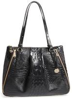 Brahmin Melbourne - Adina Croc Embossed Leather Satchel - Black