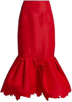 Rosie Assoulin Scalloped Party Silk Midi Skirt