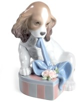 Lladro Collectible Figurine, Can't Wait! Puppy with Gift