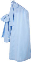 MSGM single shoulder striped dress - women - Cotton/Polyamide/Spandex/Elastane - 40