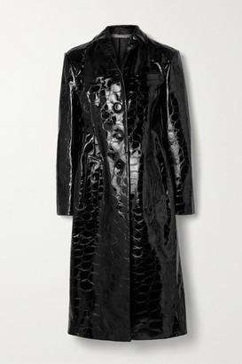 Alexander Wang Croc-effect Patent-leather Coat - Black