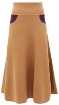 Loewe Trompe L'oeil Cashmere Skirt - Womens - Beige Multi
