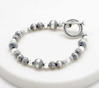 American West Sterling Silver Stamped Bead Toggle Bracelet