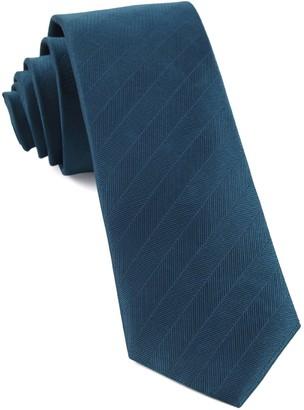 Tie Bar Herringbone Vow Teal Tie
