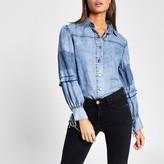 River Island Womens Blue long balloon sleeve shirt
