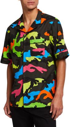 Valentino Men's Neon Camo-Print Army Camp Shirt