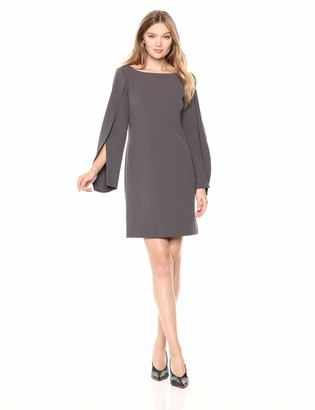 Adrianna Papell Women's Origami Draped Sleeve Knit Crepe Modern Shift Dress