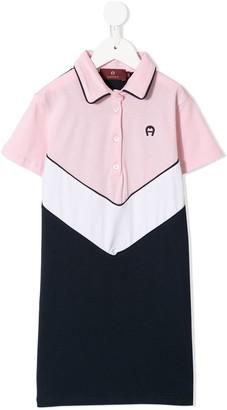 Aigner Kids Colour-Block Panelled Polo Dress