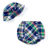 Ralph Lauren Boy Madras Hat & Diaper Cover Set