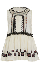 Suno Embroidered Peplum Top