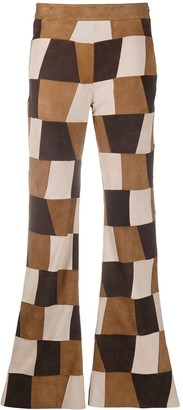 P.A.R.O.S.H. Patchwork Suede Flared Trousers