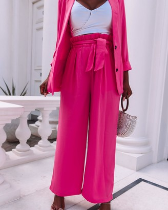 The Drop Women's Magenta Loose Fit Paperbag Waist Pant by @thepatriciabright S