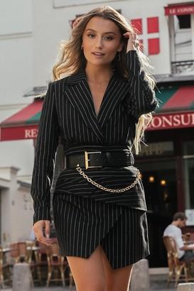 Chloé B X NA-KD Pinstriped Draped Blazer Dress