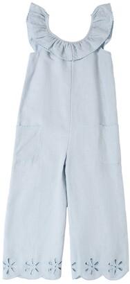Stella McCartney Linen Overalls W/ Eyelet Lace Detail