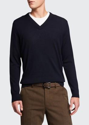 Loro Piana Men's Cashmere-Silk V-Neck Sweater
