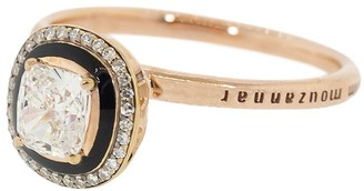 Selim Mouzannar 18kt Rose Gold Black Enamel And Diamond Ring
