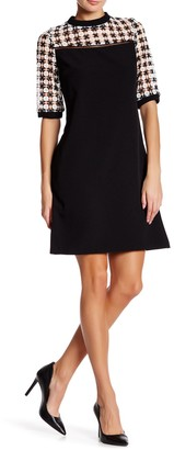 Julia Jordan Lace Yoke Crepe Shift Dress