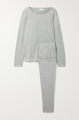 Skin + Net Sustain Cassandra Embroidered Organic Cotton-jersey Pajama Set - Gray