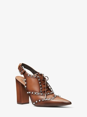 Michael Kors Waverly Studded Burnished Leather Spectator Pump