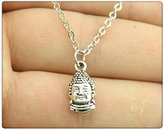 Nobrand No brand simple vintage antique bronze, antique silver color 16*8mm double sided buddha head pendant necklace