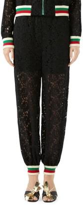Gucci Floral Lace Knit Stripe Track Pants