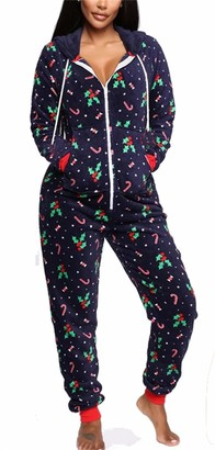 Smile Fish Women's Christmas Pajama Onesies Lounge Wear Jumpsuit Warm Fleece Supersoft Hooded Outfits PlaysuitNavyBlue M