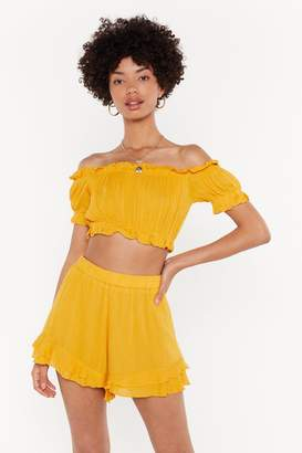 Nasty Gal Womens Time For The Frill Crop Top And Shorts Set - Yellow - M/L, Yellow