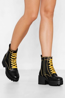 Nasty Gal Womens We Have Our Differences Chunky Boot - Black