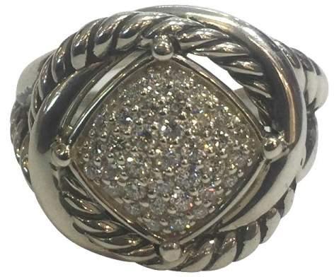 David Yurman Crossover Sterling Silver & 0.42ct Diamond Infinity Ring Size 6.75