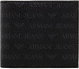 Armani Jeans logo printed leather 4cc billfold w/ coin pouch