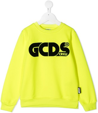 Gcds Kids Logo Print Rib-Trimmed Sweatshirt