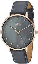 Obaku Women's Quartz Stainless Steel and Leather Dress Watch, Color:Grey (Model: V186LXVJRJ)
